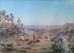 Paul B. Pascal painting of Bedouin Encampment