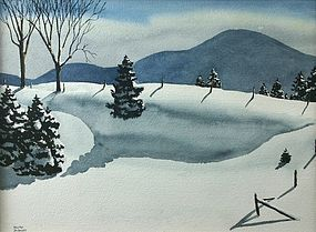 Walton Blodgett watercolor painting - Snow Drifts