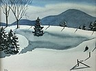 Walton Blodgett watercolor painting - Snow Drifts