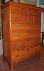 New Hampshire Chippendale tall chest with sunburst