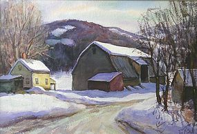 Thomas R. Curtin watercolor painting - Farm in Winter