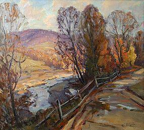 Thomas R. Curtin painting - Mountain Road in Autumn