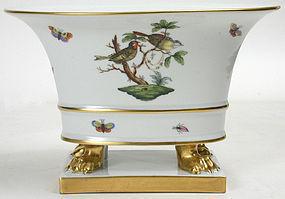 Herend Rothschild bird porcelain cache pot urn