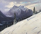 Churchill Ettinger painting of skier - Canadian Rockies