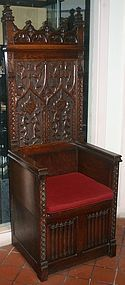 Gothic revival oak Bishop's throne chair