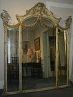 Chinese Rococo style pier mirror with ho ho birds