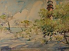 William Zorach watercolor painting of Lighthouse