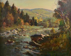 Thomas R. Curtin painting, Saxton's River, Vermont