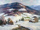 Thomas R. Curtin painting - Vermont winter farm in the mountains