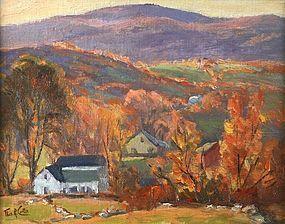 Thomas R. Curtin painting - Autumn Hillside Farm