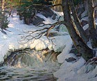 Thomas R. Curtin landscape painting - Late Winter - a forest stream