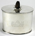 Georgian sterling silver oval tea caddy with pineapple finial, 1796