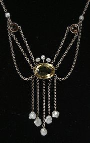 Antique Edwardian 14K gold, citrine and fresh water pearls necklace