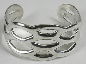 Mexican sterling silver cuff bracelet with openwork design