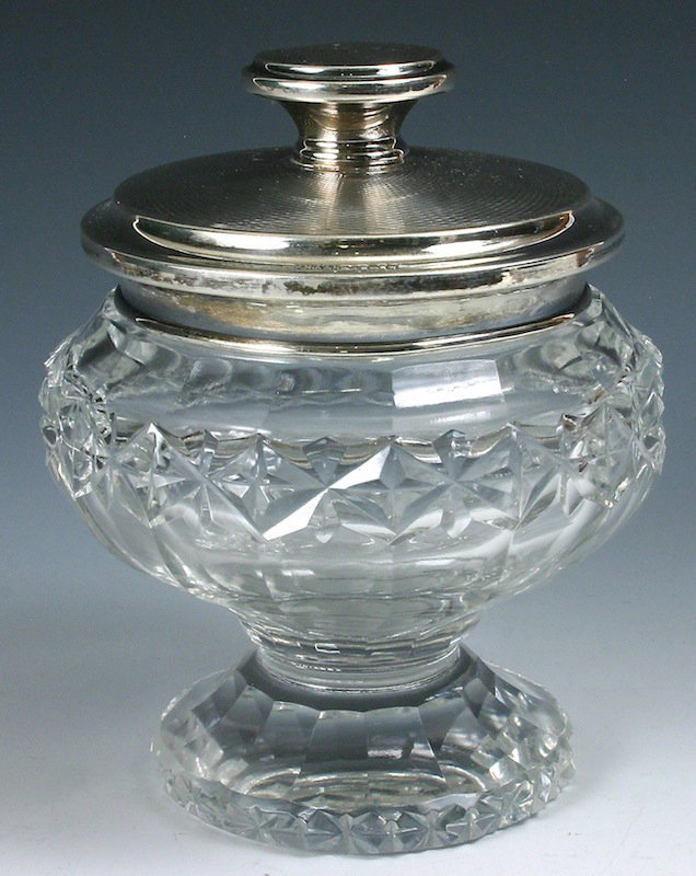English cut glass crystal pedestal dresser jar, sterling silver cover