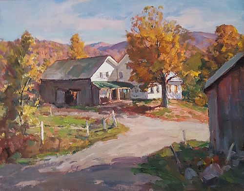 Thomas R. Curtin landscape painting - Vermont Farm in Autumn