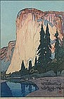 Hiroshi Yoshida woodblock print of El Capitan, Yosemite