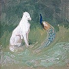 Louis Feuchter watercolor painting of dog and peacock