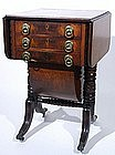 Federal era mahogany work stand, American, 3 drawer