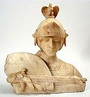 Alabaster sculpture bust of Joan of Arc by U. Biagini