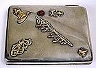 Russian silver, gold, enamel cigarette case, Kuzmichev