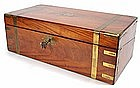 Large brass bound lap desk/ writing box, secret drawers