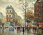 Antoine Blanchard style painting of Parisian scene