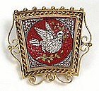 Micro mosaic pin of dove set in gold filigree, Italian