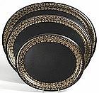 Jennens and Bettridge set of 3 papier mache oval trays