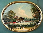 China trade oil painting of Chinese palace and lake