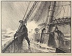Gordon Hope Grant original lithograph of mariners