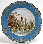 Sevres French porcelain scenic plate with tower