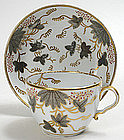 Early Spode porcelain cup and saucer, gold ladder mark