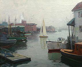 Thomas R. Curtin misty harbor painting, Gloucester, MA