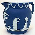 Wedgwood dark blue Jasperware dip jug pitcher, c.1900