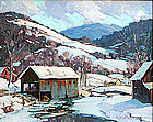 Robert Shaw Wesson painting, Vermont village mill scene