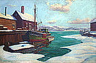 J.J. Enwright painting of North Shore winter harbor