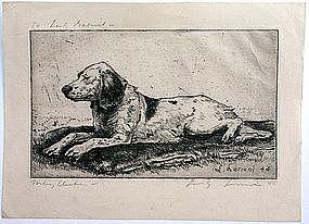 Luigi Lucioni dog etching, Missina, Christmas 1944