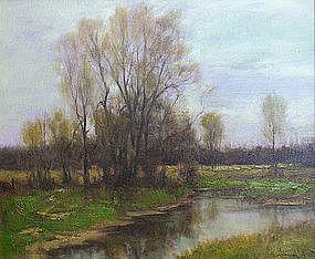 Dennis Sheehan pastoral landscape in early spring