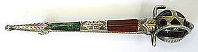 Scottish agate & sterling silver basket hilt sword pin