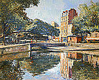 Arthur Fillon painting, Le Canal St. Martin, Paris