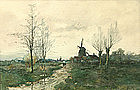 Charles Paul Gruppe windmill watercolor painting