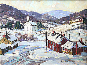 Robert Shaw Wesson painting, Vermont village in winter