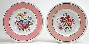 Twelve Copeland's Spode pink floral dessert plates