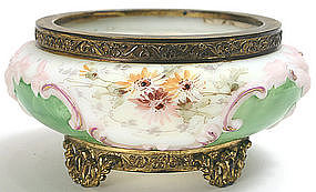 Wave Crest bowl in ormolu frame, signed, rare colors