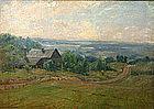 Alexis J. Fournier painting, landscape with farm