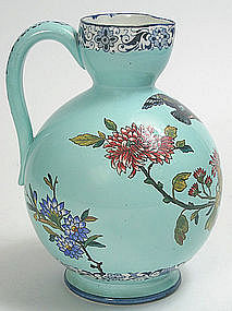 French Gien pottery faience jug, turquoise, bird design