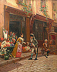 Cristobal de Antonio painting of Flower Seller