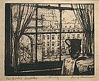 Luigi Lucioni etching, My Window, Washington Sq. view