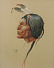 Olaf Wieghorst portrait of a Native American Indian
